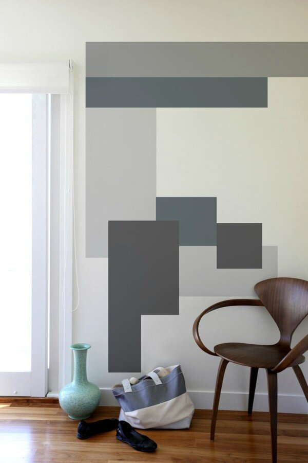 un peu de geometrie sur les murs grace a la peinture l. Black Bedroom Furniture Sets. Home Design Ideas