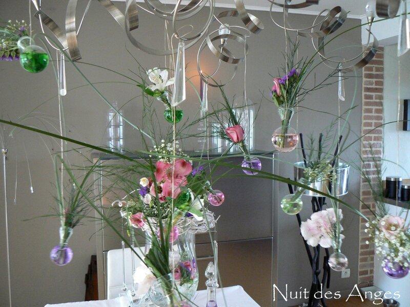 Nuit des anges décoratrice de mariage décoration de table rose et vert 007