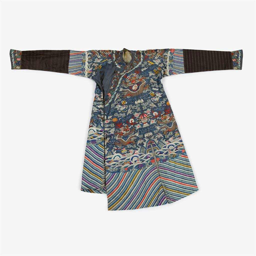 A Chinese silk kesi blue dragon robe, late Qing dynasty
