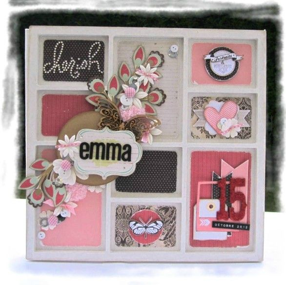 un album 30x30 en scrapbooking fait main et une urne pour le bapt me d 39 emma les cr ations de. Black Bedroom Furniture Sets. Home Design Ideas