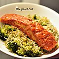Saumon tandoori et vermicelles au brocoli