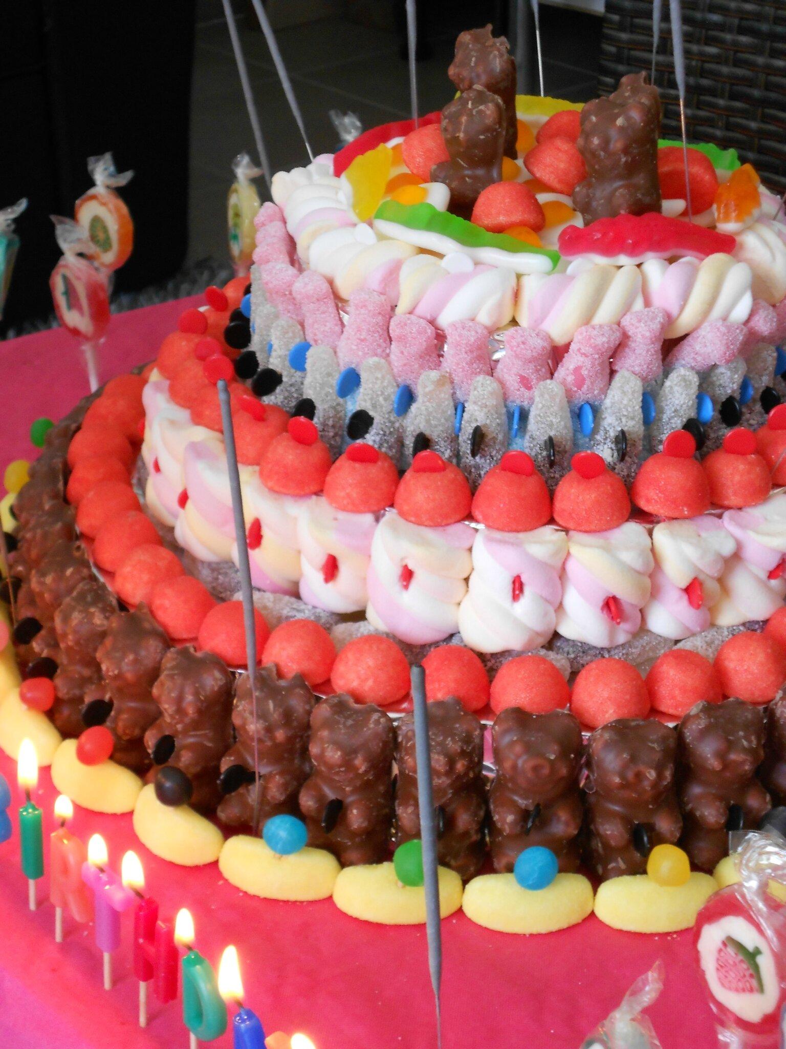 G teau d anniversaire bonbons theme anniversaire - Decoration pour gateaux d anniversaire ...