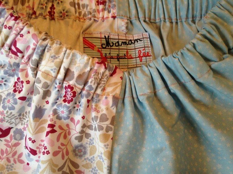 short popeline bleue etoiles grises et coton motifs fleurs et oiseaux modele blog elle frost 2