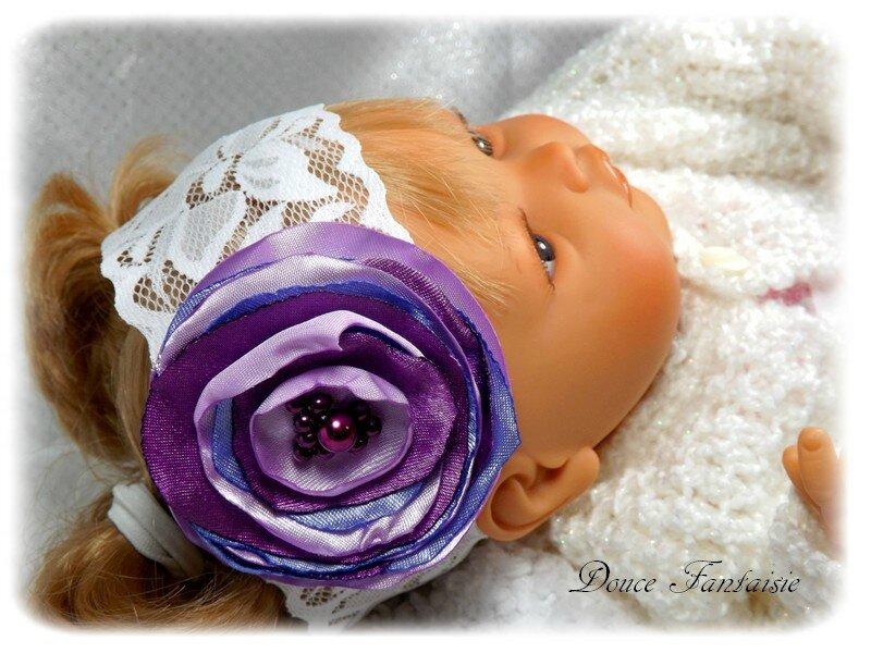 Bandeau bébé fleur violine