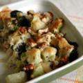 Gratin de brocoli au fromage de chèvre et aux noix, sans blé, sans lait de vache