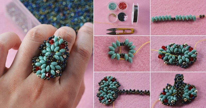 1200-Pandahall-Tutorial-on-How-to-Make-a-Blue-2-Hole-Seed-Bead-Ring