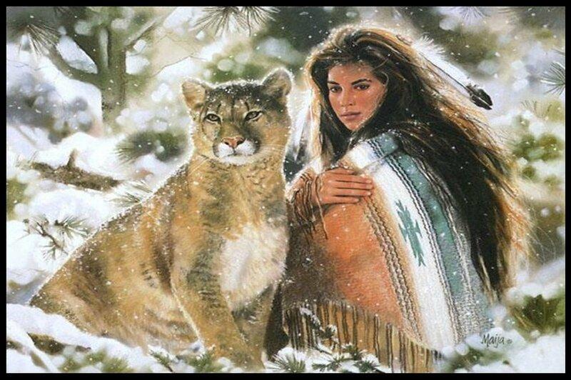 indienne et leopard