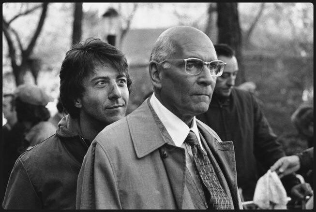 Dustin Hoffman sneaks up on Lawrence Olivier on the set of John Schlesinger's Marathon Man (1976) in New York's Central Park