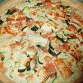 Tarte courgettes, feta et crevettes