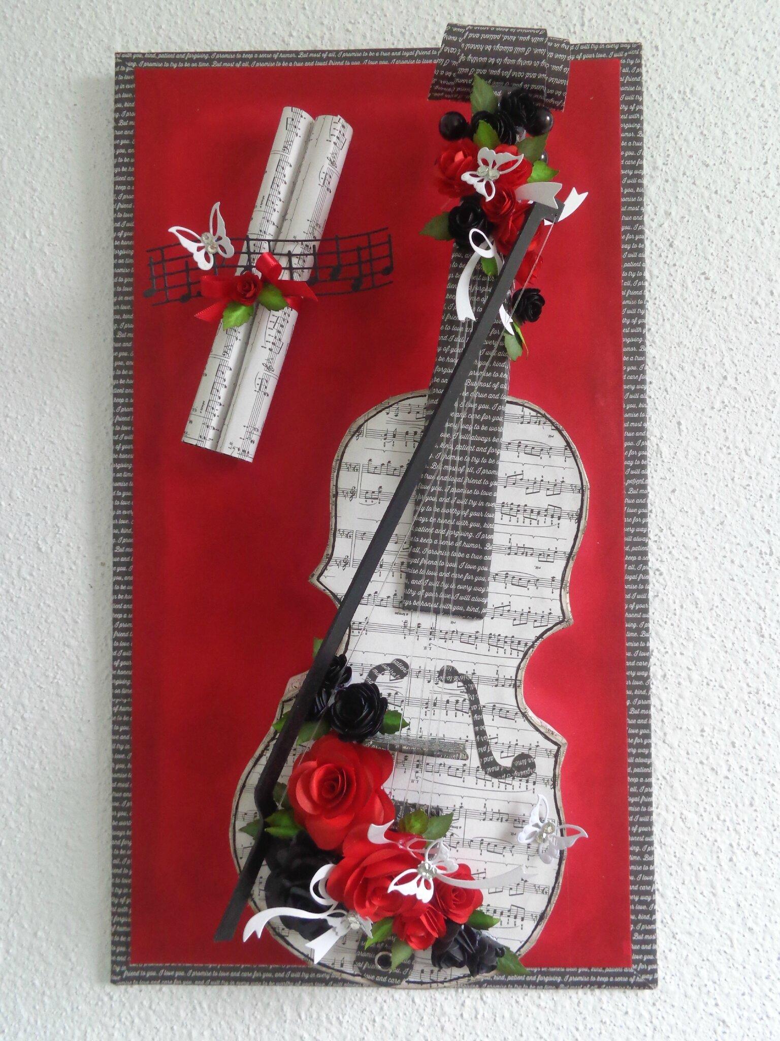 """Cadre violon """"noir et rouge"""""""