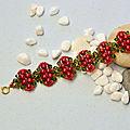 Noël bracelet avec des perles de verre et des perles de rocaille