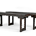 A fine and rare pair of zitan and hongmu recessed leg altar tables. 18th-19th century