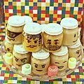 Compotes en tête de lego {idée anniversaire / sweet table lego }