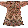 A rare brocaded salmon-ground semi-formal dragon robe, jifu, qing dynasty, kangxi period