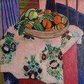 Matisse - fruits sur nappe à fleurs
