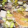 Fondue de poireaux, champignons et tofu