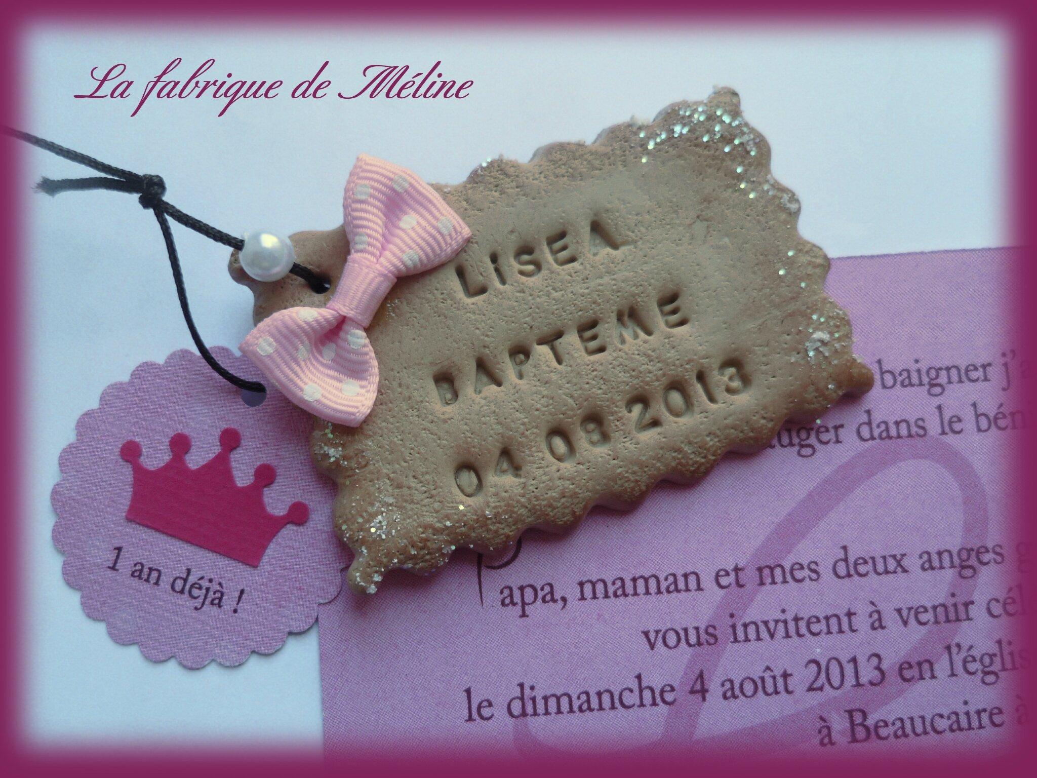 """Bevorzugt Faire-part baptême """"biscuit"""" personnalisé - La fabrique de Méline IX73"""