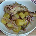 Papillote de poulet aux échalotes, lardons et pommes de terre