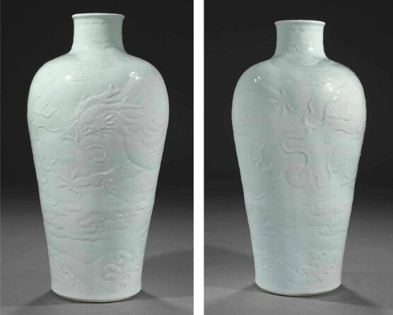 A rare massive pale blue-glazed relief-decorated vase, 18th century