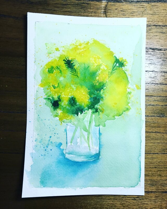 Bouquet de mimosa-aquarelle