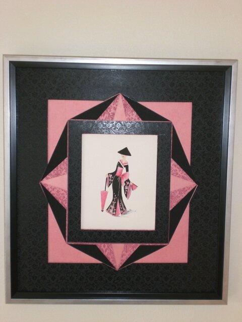 Cadre n°135 Geisha rose et noire 001