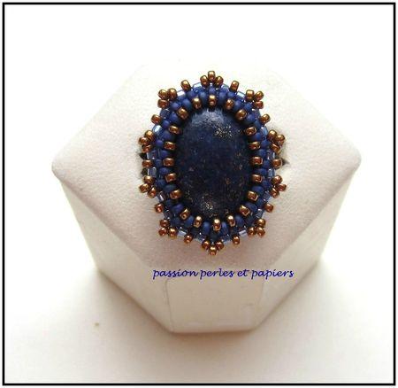bague 18 x 13 lapis lazuli dessus