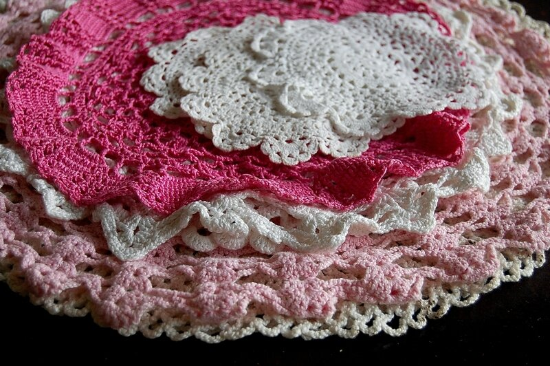 napperons crochet rose