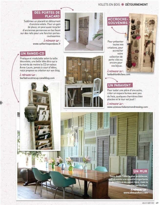 magazine creative juill 2013 mon volet persienne en page 49 barbatruc et r cup. Black Bedroom Furniture Sets. Home Design Ideas