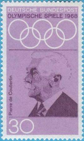 Timbre Allemagne 1968 Pierre de Coubertin