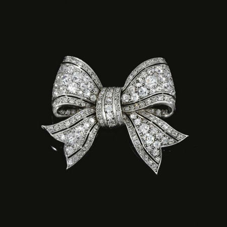 Diamond bow brooch, early 20th century