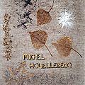 Hommage a michel houellebecq (billes de verre, perles, rocaille, squelettes de feuilles,collage sur toile de lin 55x46 )