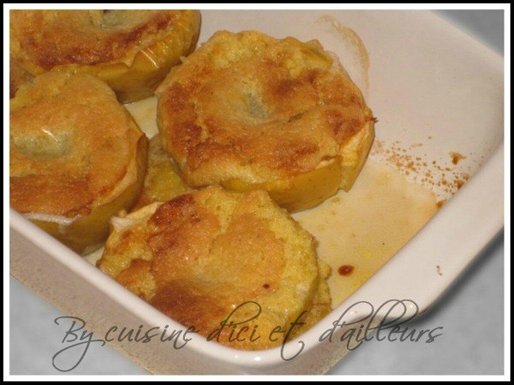 Pommes farcies à la crème d'amandes et chocolat