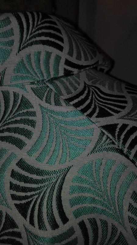 Veste VICTORINE en toile polyester turquoise - Doublure de satin gris perle (7)