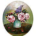 tableau fleurs bouquet pivoines et lilas