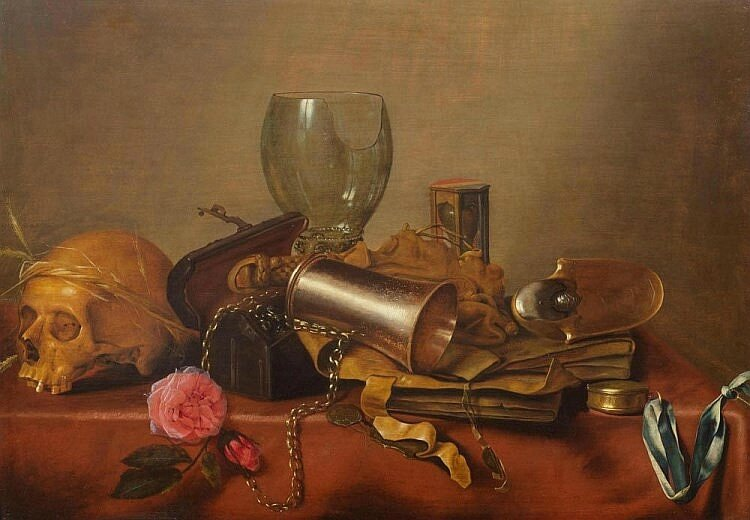 Hendrik Andriessen, A Vanitas Still Life with a Roman glass, a rose and a skull