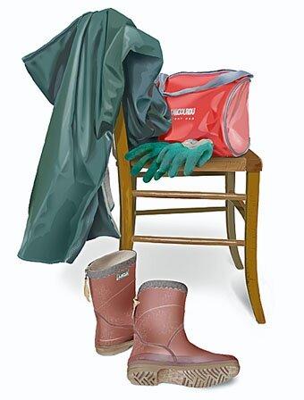 gants, bottes et ciré