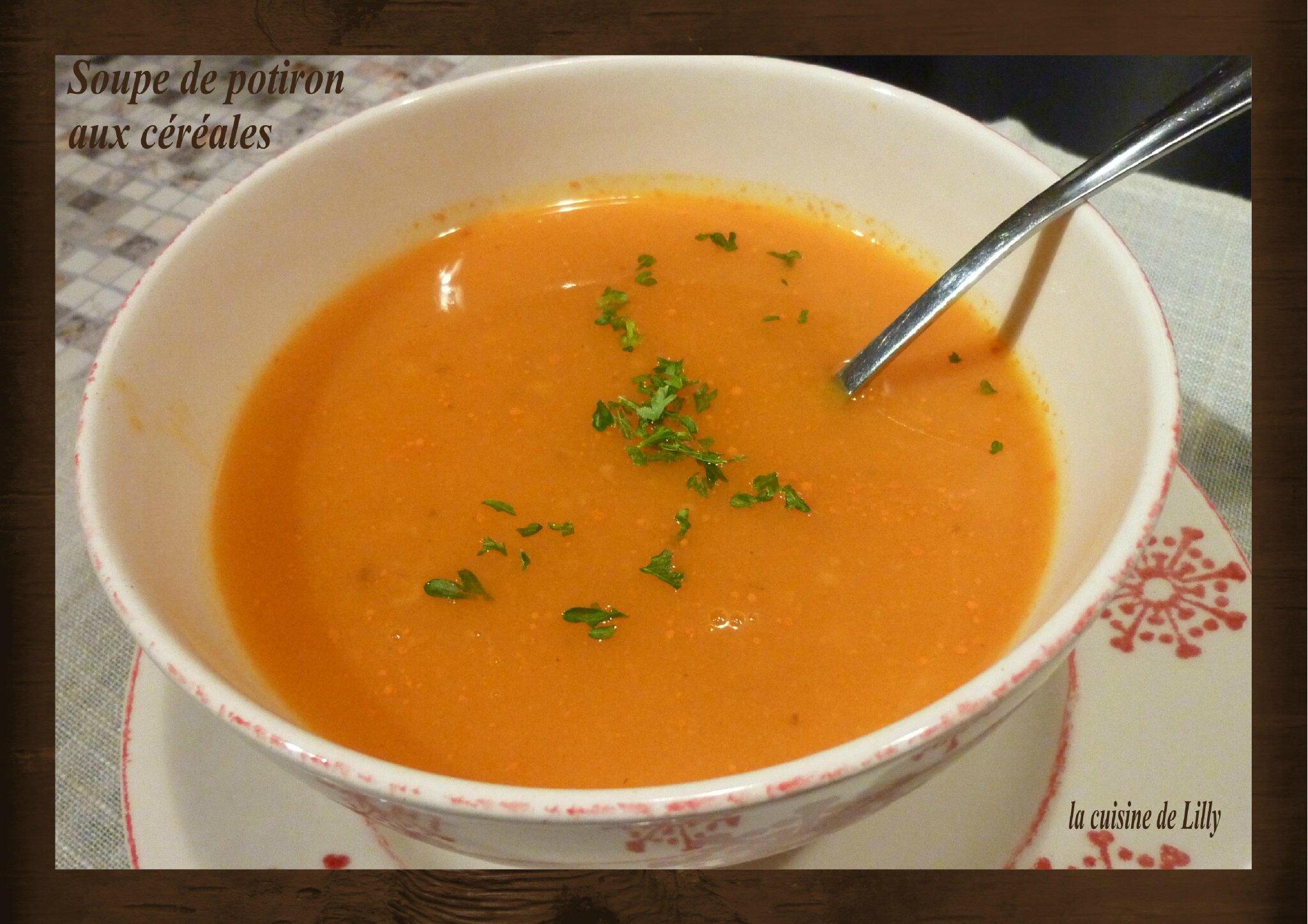 Soupe de potiron la cuisine de lilly - Soupe potiron cocotte minute ...