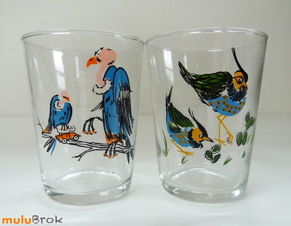 vaisselle vintage verres d cor s oiseaux saint gobain mulubrok brocante en ligne. Black Bedroom Furniture Sets. Home Design Ideas