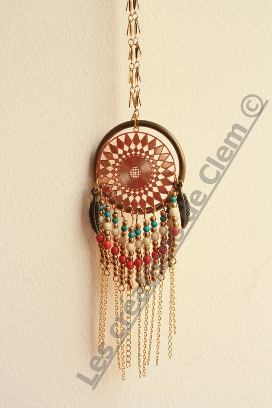 sautoir collier azteque indian - attrape reve - plume - perles - laiton - dreamcatcher- necklace (2)
