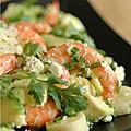 Salade crevettes, coeur de palmier, avocat, feta & coriandre