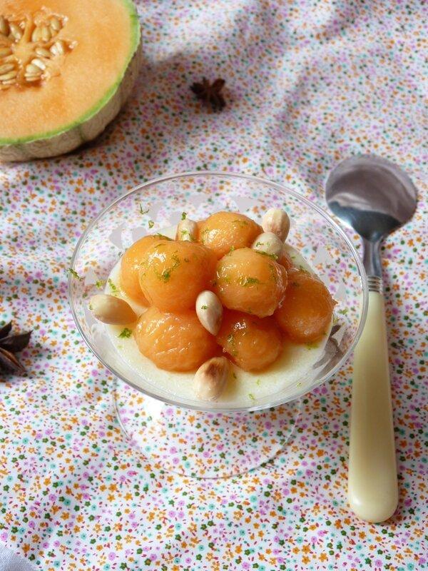 Verrine de semoule au lait et ses billes de melon rôti à la badiane
