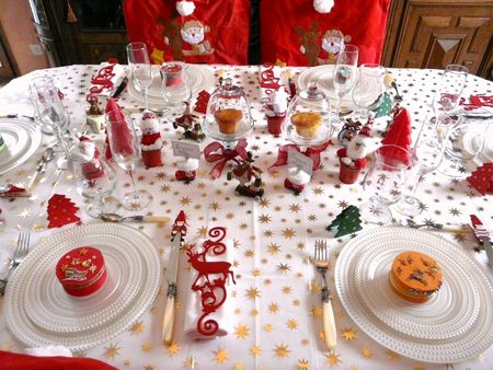 Table de noel rouge blanc deco de tables - Table de noel rouge et or ...