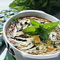 GRATIN de COURGETTES et PETITS POIS,  la MENTHE