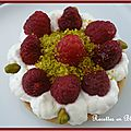 Financiers a la pistache framboises et chantilly