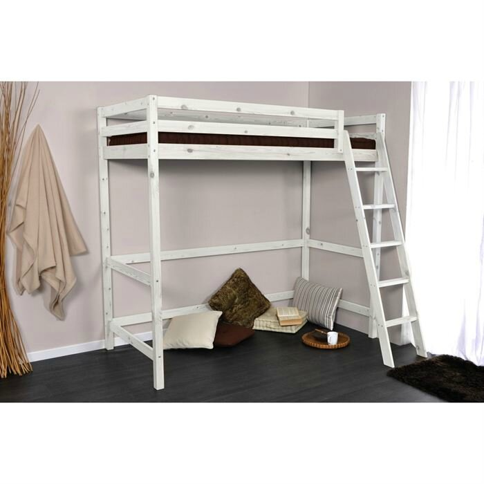 lit mezzanine blanc en pin et son sommier a lattes tout. Black Bedroom Furniture Sets. Home Design Ideas