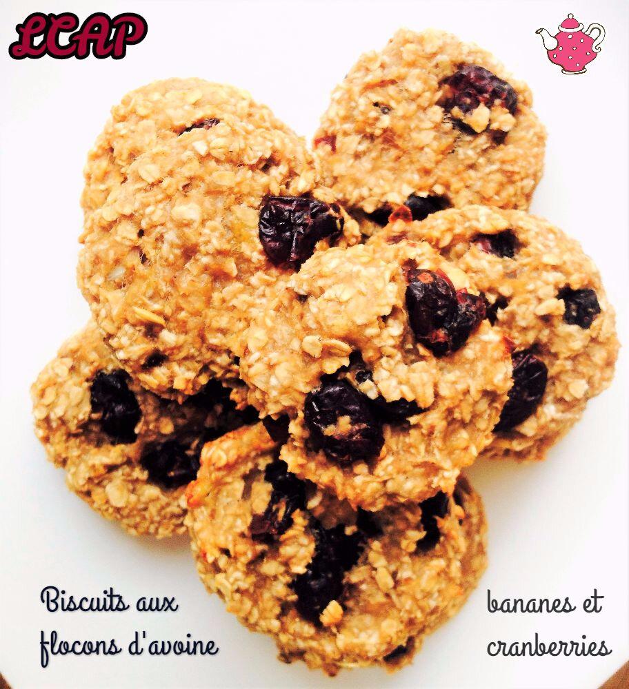 Biscuits aux flocons d'avoine, banane et cranberries