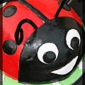 P'tit gteau coccinelle en pte  sucre pour les 2 ans du p'tit loup