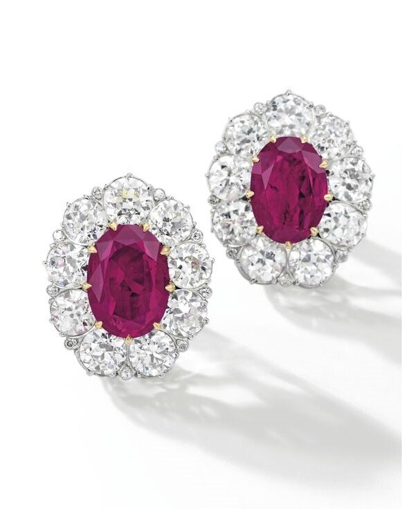 Pair of Ruby and Diamond Ear Clips2