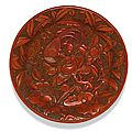 A cinnabar lacquer Pheasant and Peony dish Ming dynasty, 16th century