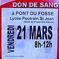 Don de sang à pont-du-fossé le 21 /03 /2014
